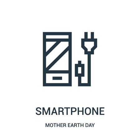 smartphone icon vector from mother earth day collection. Thin line smartphone outline icon vector illustration. Linear symbol for use on web and mobile apps, logo, print media.