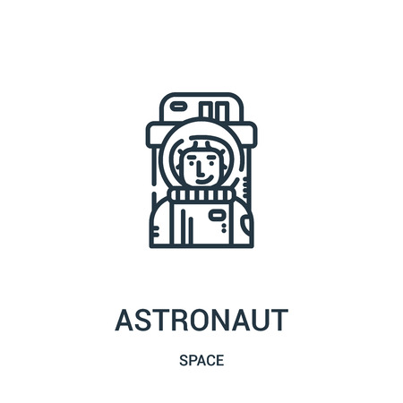 astronaut icon vector from space collection. Thin line astronaut outline icon vector illustration. Linear symbol for use on web and mobile apps, logo, print media.