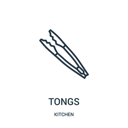 tongs icon vector from kitchen collection. Thin line tongs outline icon vector illustration. Linear symbol for use on web and mobile apps, logo, print media.