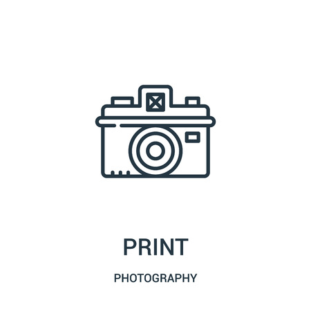 print icon vector from photography collection. Thin line print outline icon vector illustration. Linear symbol for use on web and mobile apps, logo, print media.