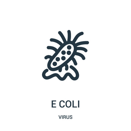 e coli icon vector from virus collection. Thin line e coli outline icon vector illustration. Linear symbol for use on web and mobile apps, logo, print media.
