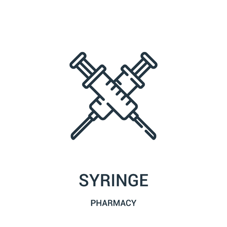 syringe icon vector from pharmacy collection. Thin line syringe outline icon vector illustration. Linear symbol for use on web and mobile apps, logo, print media.