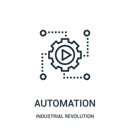 automation icon vector from industrial revolution collection. Thin line automation outline icon vector illustration. Linear symbol for use on web and mobile apps, logo, print media.