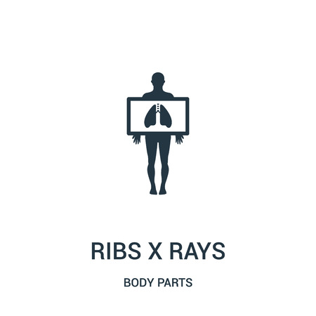 ribs x rays icon vector from body parts collection. Thin line ribs x rays outline icon vector illustration. Linear symbol for use on web and mobile apps, logo, print media.