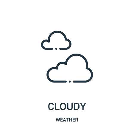 cloudy icon vector from weather collection. Thin line cloudy outline icon vector illustration. Linear symbol for use on web and mobile apps, logo, print media.