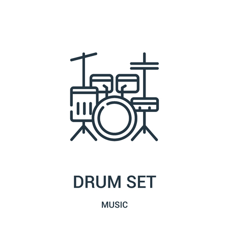 drum set icon vector from music collection. Thin line drum set outline icon vector illustration. Linear symbol for use on web and mobile apps, logo, print media. Illustration