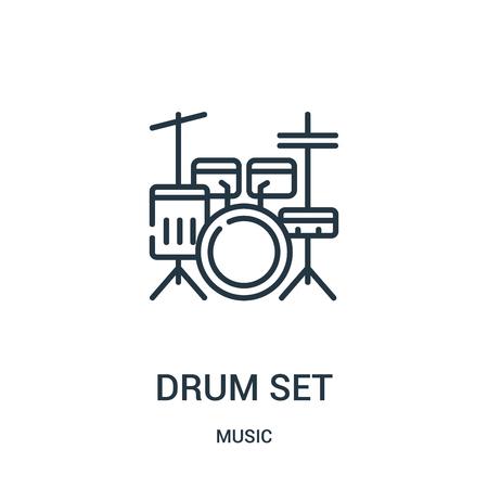 vecteur d'icône de jeu de batterie de la collection de musique. Fine ligne tambour set contour icône vector illustration. Symbole linéaire à utiliser sur les applications Web et mobiles, le logo, les supports imprimés. Logo