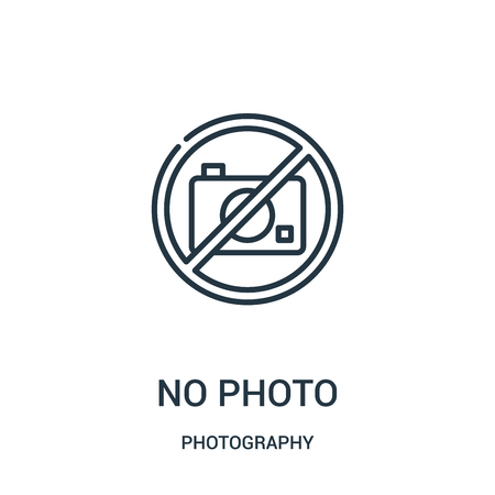 no photo icon vector from photography collection. Thin line no photo outline icon vector illustration. Linear symbol for use on web and mobile apps, logo, print media.