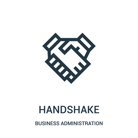 handshake icon vector from business administration collection. Thin line handshake outline icon vector illustration. Linear symbol for use on web and mobile apps, logo, print media.