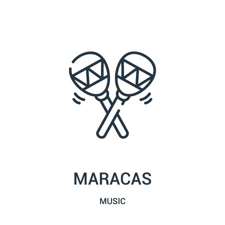 maracas icon vector from music collection. Thin line maracas outline icon vector illustration. Linear symbol for use on web and mobile apps, logo, print media.