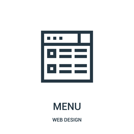 menu icon vector from web design collection. Thin line menu outline icon vector illustration. Linear symbol for use on web and mobile apps, logo, print media.