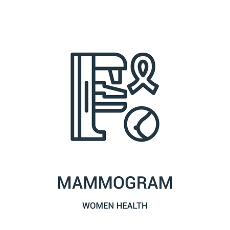mammogram icon vector from women health collection. Thin line mammogram outline icon vector illustration. Linear symbol for use on web and mobile apps, logo, print media.