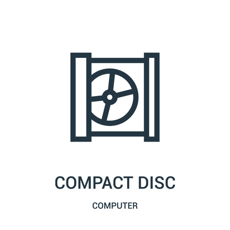compact disc icon vector from computer collection. Thin line compact disc outline icon vector illustration. Linear symbol for use on web and mobile apps, logo, print media.