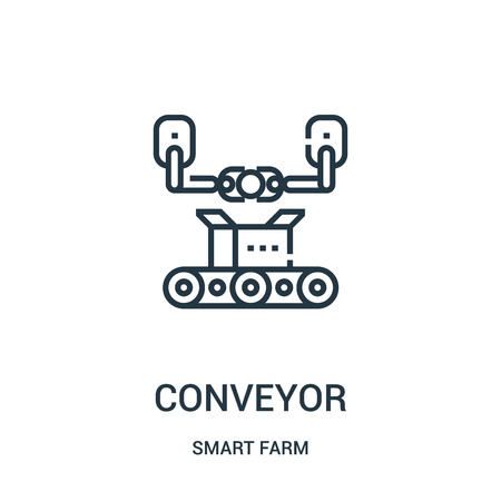 conveyor icon vector from smart farm collection. Thin line conveyor outline icon vector illustration. Linear symbol for use on web and mobile apps, logo, print media. 일러스트