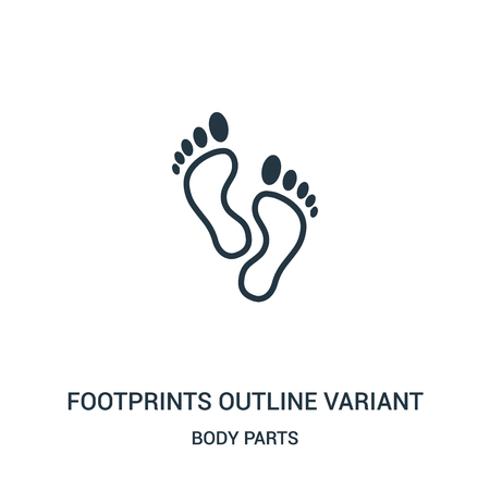 footprints outline variant icon vector from body parts collection. Thin line footprints outline variant outline icon vector illustration. Linear symbol for use on web and mobile apps, logo, print