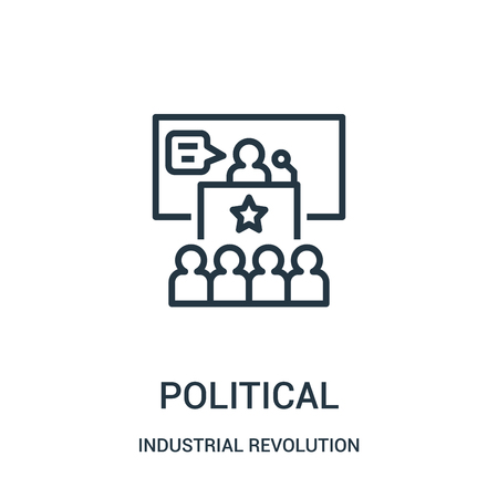 political icon vector from industrial revolution collection. Thin line political outline icon vector illustration. Linear symbol for use on web and mobile apps, logo, print media. Ilustração