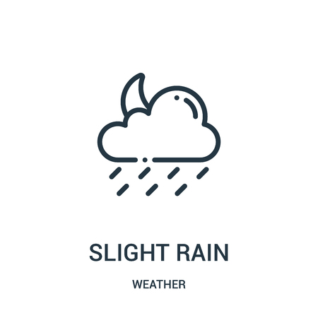 slight rain icon vector from weather collection. Thin line slight rain outline icon vector illustration. Linear symbol for use on web and mobile apps, logo, print media. Çizim