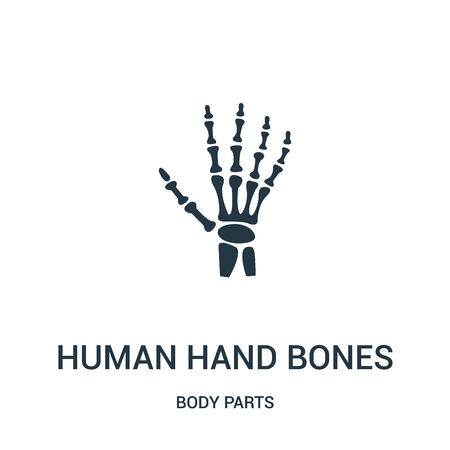 human hand bones icon vector from body parts collection. Thin line human hand bones outline icon vector illustration. Linear symbol for use on web and mobile apps, logo, print media.