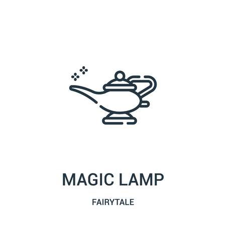 magic lamp icon vector from fairytale collection. Thin line magic lamp outline icon vector illustration. Linear symbol for use on web and mobile apps, logo, print media.