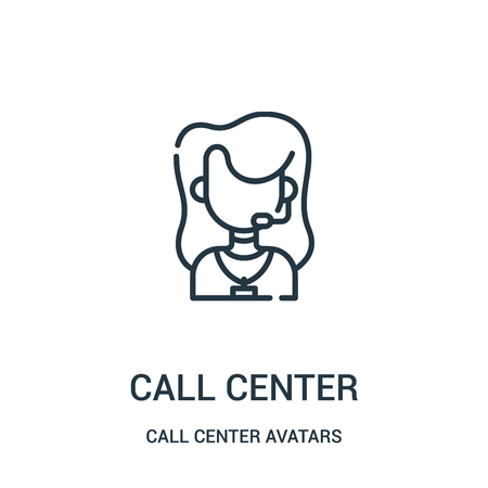 call center icon vector from call center avatars collection. Thin line call center outline icon vector illustration. Linear symbol for use on web and mobile apps, logo, print media. 矢量图像