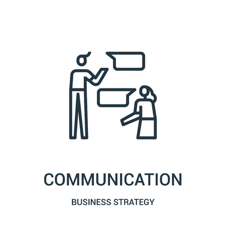 communication icon vector from business strategy collection. Thin line communication outline icon vector illustration. Linear symbol for use on web and mobile apps, logo, print media.