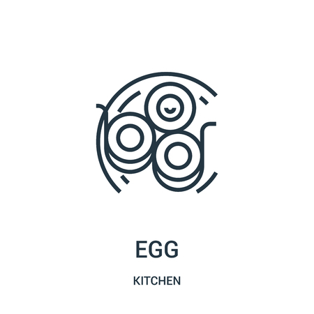 egg icon vector from kitchen collection. Thin line egg outline icon vector illustration. Linear symbol for use on web and mobile apps, logo, print media.