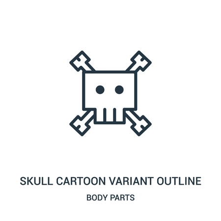 skull cartoon variant outline icon vector from body parts collection. Thin line skull cartoon variant outline outline icon vector illustration. Linear symbol for use on web and mobile apps, logo,
