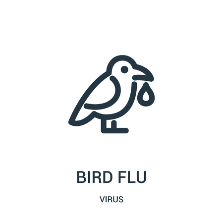 bird flu icon vector from virus collection. Thin line bird flu outline icon vector illustration. Linear symbol for use on web and mobile apps, logo, print media.