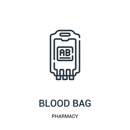 blood bag icon vector from pharmacy collection. Thin line blood bag outline icon vector illustration. Linear symbol for use on web and mobile apps, logo, print media.