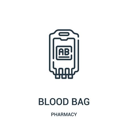vector de icono de bolsa de sangre de colección de farmacia. Ilustración de vector de contorno de bolsa de sangre de línea delgada. Símbolo lineal para usar en aplicaciones web y móviles, logotipo, medios impresos.