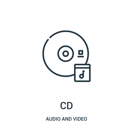 cd icon vector from audio and video collection. Thin line cd outline icon vector illustration. Linear symbol for use on web and mobile apps, logo, print media. Illustration