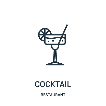 cocktail icon vector from restaurant collection. Thin line cocktail outline icon vector illustration. Linear symbol for use on web and mobile apps, logo, print media. Illustration