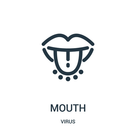 mouth icon vector from virus collection. Thin line mouth outline icon vector illustration. Linear symbol for use on web and mobile apps, logo, print media.