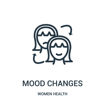 mood changes icon vector from women health collection. Thin line mood changes outline icon vector illustration. Linear symbol for use on web and mobile apps, logo, print media.