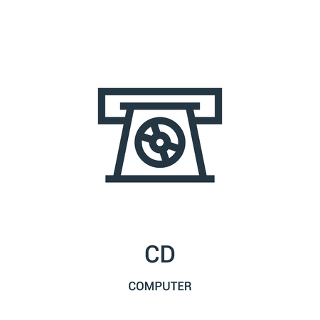cd icon vector from computer collection. Thin line cd outline icon vector illustration. Linear symbol for use on web and mobile apps, logo, print media.