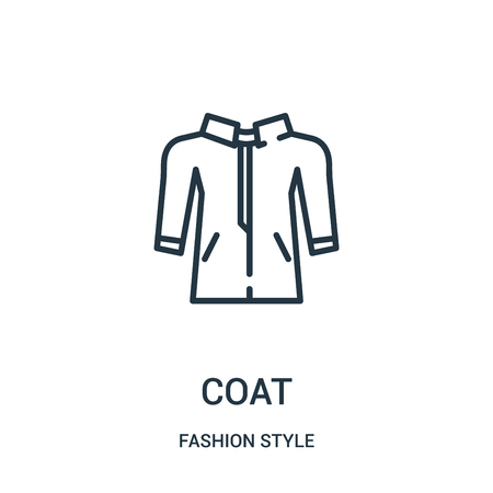 coat icon vector from fashion style collection. Thin line coat outline icon vector illustration. Linear symbol for use on web and mobile apps, logo, print media. Illustration