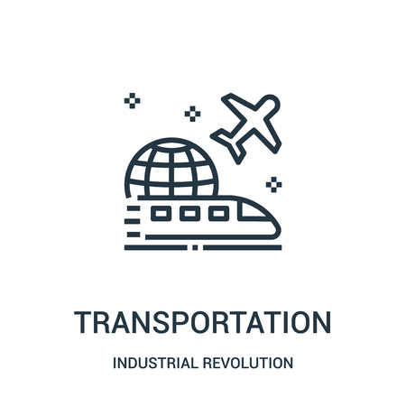 transportation icon vector from industrial revolution collection. Thin line transportation outline icon vector illustration. Linear symbol for use on web and mobile apps, logo, print media.
