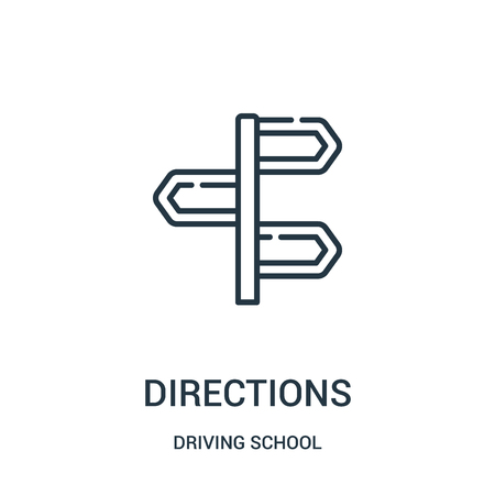 directions icon vector from driving school collection. Thin line directions outline icon vector illustration. Linear symbol for use on web and mobile apps, logo, print media.