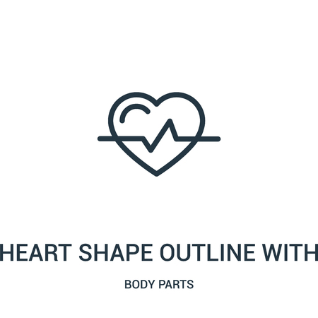 heart shape outline with lifeline variant icon vector from body parts collection. Thin line heart shape outline with lifeline variant outline icon vector illustration. Linear symbol for use on web and Illustration