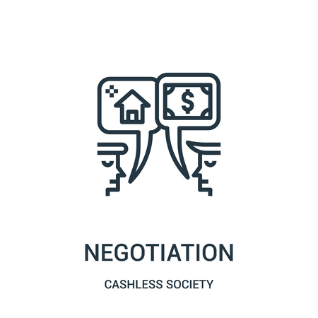 negotiation icon vector from cashless society collection. Thin line negotiation outline icon vector illustration. Linear symbol for use on web and mobile apps, logo, print media.
