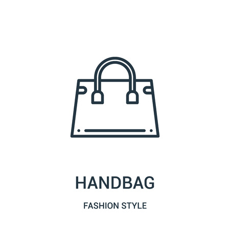 handbag icon vector from fashion style collection. Thin line handbag outline icon vector illustration. Linear symbol for use on web and mobile apps, logo, print media.