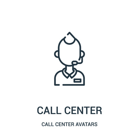 call center icon vector from call center avatars collection. Thin line call center outline icon vector illustration. Linear symbol for use on web and mobile apps, logo, print media. Ilustração