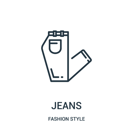 jeans icon vector from fashion style collection. Thin line jeans outline icon vector illustration. Linear symbol for use on web and mobile apps, logo, print media.