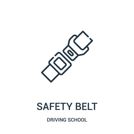 safety belt icon vector from driving school collection. Thin line safety belt outline icon vector illustration. Linear symbol for use on web and mobile apps, logo, print media.