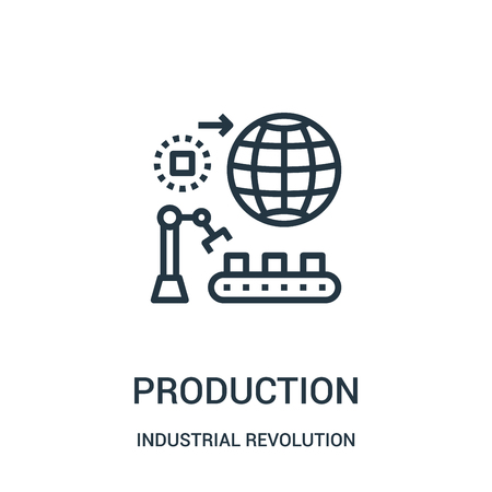 production icon vector from industrial revolution collection. Thin line production outline icon vector illustration. Linear symbol for use on web and mobile apps, logo, print media.