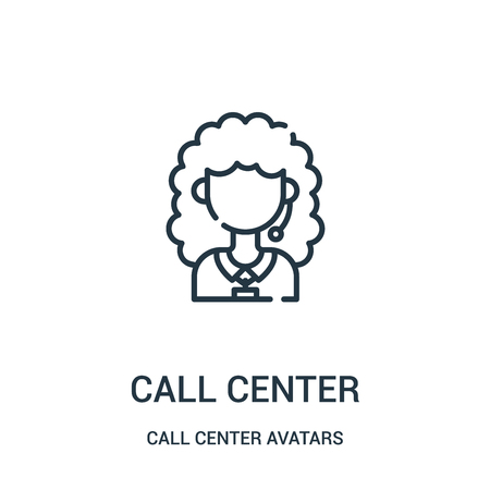 call center icon vector from call center avatars collection. Thin line call center outline icon vector illustration. Linear symbol for use on web and mobile apps, logo, print media.