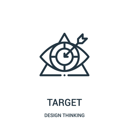 target icon vector from design thinking collection. Thin line target outline icon vector illustration. Linear symbol for use on web and mobile apps, logo, print media.