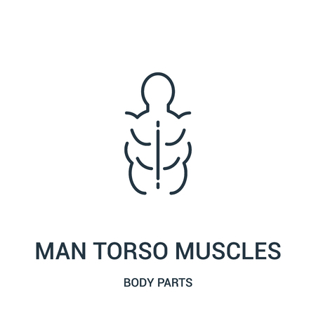 man torso muscles icon vector from body parts collection. Thin line man torso muscles outline icon vector illustration. Linear symbol for use on web and mobile apps, logo, print media.