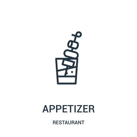 appetizer icon vector from restaurant collection. Thin line appetizer outline icon vector illustration. Linear symbol for use on web and mobile apps, logo, print media. Foto de archivo - 124038219