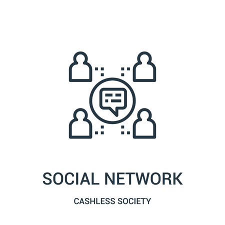social network icon vector from cashless society collection. Thin line social network outline icon vector illustration. Linear symbol for use on web and mobile apps, logo, print media. Illustration